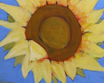 "Original Sunflower Painting . ""Sunflower Blue"" 20x16 in."