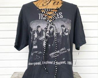 LARGE - The Beatles - Band T-Shirt - Lace Up T-Shirt - Upcycled - V-Neck - Bm