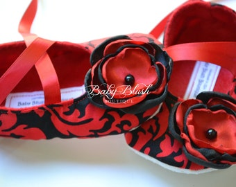 Red & Black Damask Baby Shoes Soft Ballerina Slippers Baby Booties