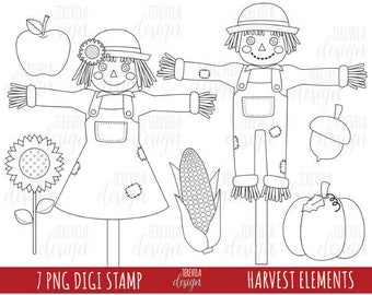 50% SALE HARVEST digital stamps,  autumn digi stamps, commercial use, coloring page, autumn graphics, fall digi stamp, cute graphics