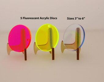 5 Fluorescent Large Blank Discs For Vinyl - Acrylic Circle Keychain Blanks - Blank Keychains With Hole - Laser Cut Acrylic Circles - BL30
