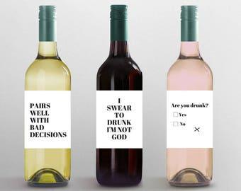 Funny Wine Labels: Custom Wine Labels- Hostess Gift- Funny gift- Funny holiday gift- Funny holiday decor-  Funny wine label-  birthday wine