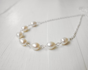 White pearl necklace minimalist chain necklace freshwater pearls necklace for women gift for her