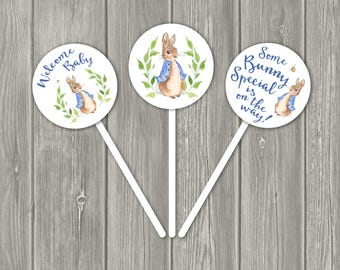 Baby Shower Cupcake Topper, Peter Rabbit Cupcake Topper, Peter Rabbit Party Decor, Party Favors, BLUE, Printable INSTANT DOWNLOAD