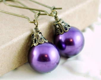 Grape Purple Christmas Earrings, Antiqued Brass, Kidney Earwires, Round Glass Pearl, Fun Holiday Jewelry