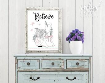 Believe Print   Unicorn Printable   Affirmation Art   Dorm Décor   Girls Room Artwork   Girls Room Décor   Unicorn Inspirational Quote