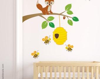 Fox Wall Decal, Fox Wall Sticker, Bees Wall Decal, Fox and Branch Wall Decal, Forest Animals Wall Decal, Kids Baby Room Nursery Decal Decor