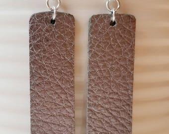 Gunmetal Leather Earrings/Bar
