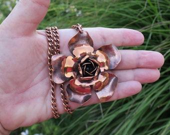 Vintage Renoir Copper Flower Necklace