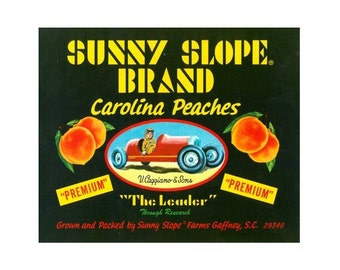 Sunny Slope Farms South Carolina Peach Crate Label