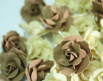 2.5 cm Miniature Roses Handcrafted Clay with Pearl bead, 20 pieces