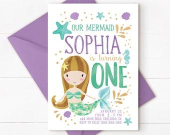 Mermaid birthday invitation, Mermaid under the sea invitation, under the sea invitation, mermaid 1st birthday, mermaid invitation