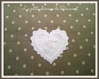 Appliqué embroidered heart shaped with Monogram