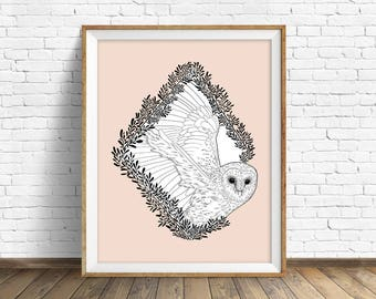 Flights of Fancy - wall art, modern nursery art, woodland nursery wall art, large art, large wall art, modern, owl, barn owl, wall art print