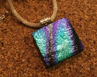 Dichroic Glass Pendant-Dichroic Jewelry-Dichroic Necklace- Fused Glass Jewelry