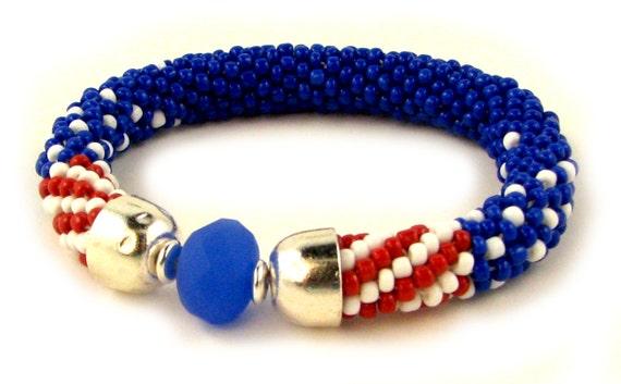 Bead crochet bracelet pattern instant download, red white blue ...
