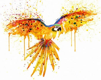 Flying parrot Watercolor painting Wall decor Bird art Splashes Parrot wall art Printable art Parrot poster Birds Illustrations Aquarelle