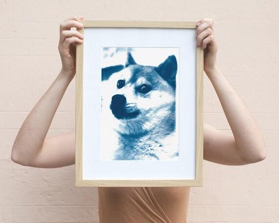 Doge Meme! Much Cool! Cyanotype Print! Meme Art, Meme Gifts, Dog Lover Gifts, Internet Gift, Funny Art Print, Shiba Inu, Best Friend Gift