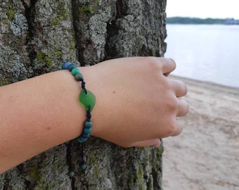 Lake Huron Beachglass Beaded Adjustable Bracelet