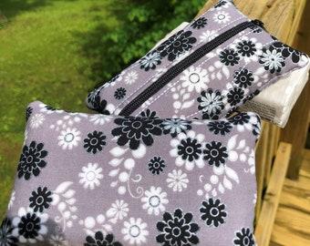 Zippered Kleenex Tissue Pouch Black, Gray, & White Flowers