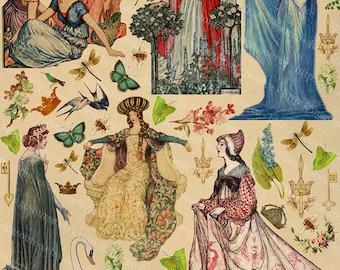 Fairytale Princesses Digital Scrapbooking Clip Art, Fair Maidens. Enchanted Tales,  Collage Sheet Instant  Download Printables