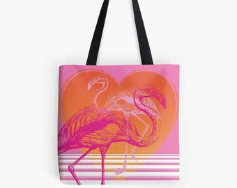 PINK FLAMINGOS Tote Bag: Shopping Bag, Hot Pink, Orange, Tropical Birds, Exotic Birds, Miami Style, Modern Retro, Kitsch, Sunset, Nature