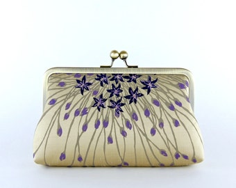Gold & Violet Silk Clutch, wedding clutch, wedding bag, bridesmaid clutch, Bridal clutch, Purse for wedding
