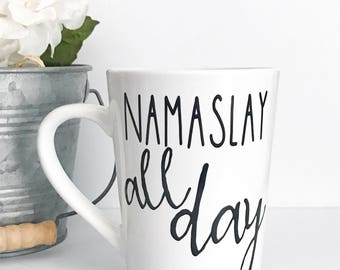 CLEARANCE MUG, Namaslay all day, 14oz coffee mug, imperfect mug, coffee cup, Namaste mug, yoga, yoga mug, mug, personalized mug, girl boss