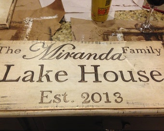 Personalized Hand Painted Lake House Sign