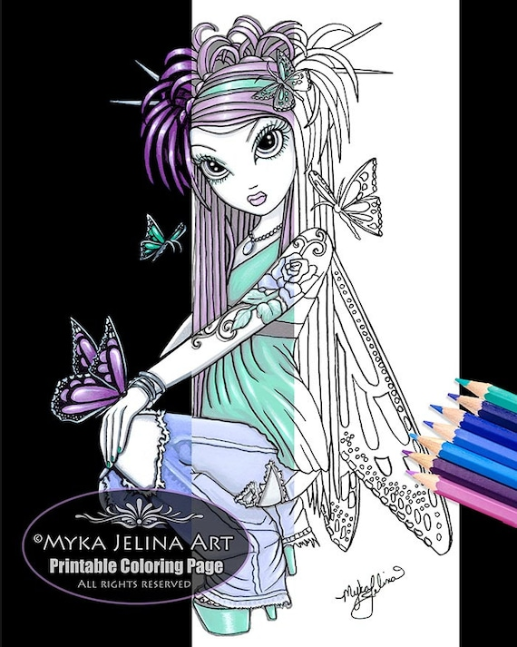 Sky Butterfly Fairy Digital Download Coloring Page Myka Jelina