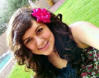 Dark Pink Rose Hair Clip Pinup Rockabilly Hair Accessorie- Dark Pink Flat Fit Rose