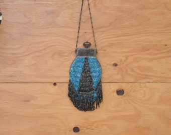 Vintage Stunningly Romantic Blue & Silver Beaded Purse With Chain Strap AS IS
