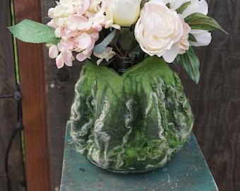 Felted Green Textured Vessel (vase)