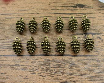 20 Pine Cone Charms Antique Bronze Tone 3D Charms-RS587