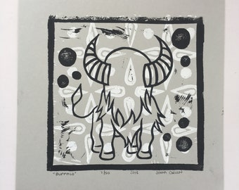 Handmade Gray Buffalo Linocut Print