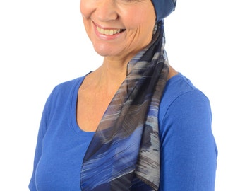 Catrina - Jersey Cotton Hat with Chiffon Scarf for Cancer, Chemo and Hair Loss