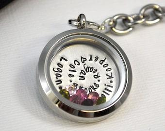 Grandma Floating Locket Keychain with Charms | Handstamped Memory Locket Keychain