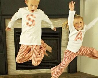 Personalized Matching Family Christmas Pajama's, Christmas PJ's, Jammies Stripes Polka Dots Baby Toddler Boys Girls Holiday Handmade