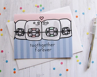 Cute Braces Greeting Card Funny Tooth Greeting Card Cute Note Anytime Card Boyfriend Girlfriend Love Teeth Blank Card Any Occasion