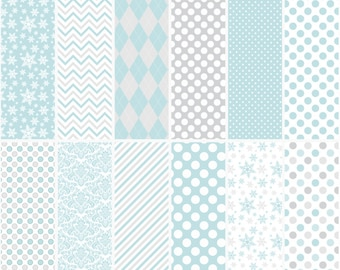 penguin digital papers christmas - Penguin Pals (Blue) Digital Papers