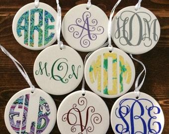 PERSONALIZED Christmas Ornaments, Vinyl Customized Bridesmaid Wedding Gifts, Monogram Monogrammed Hanukkah Tree Ornaments, Girlfriend gift