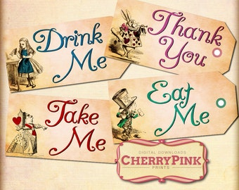 Alice in Wonderland printable tags, Eat Me Drink Me tags, party supplies, party tags, tea party tags, digital download