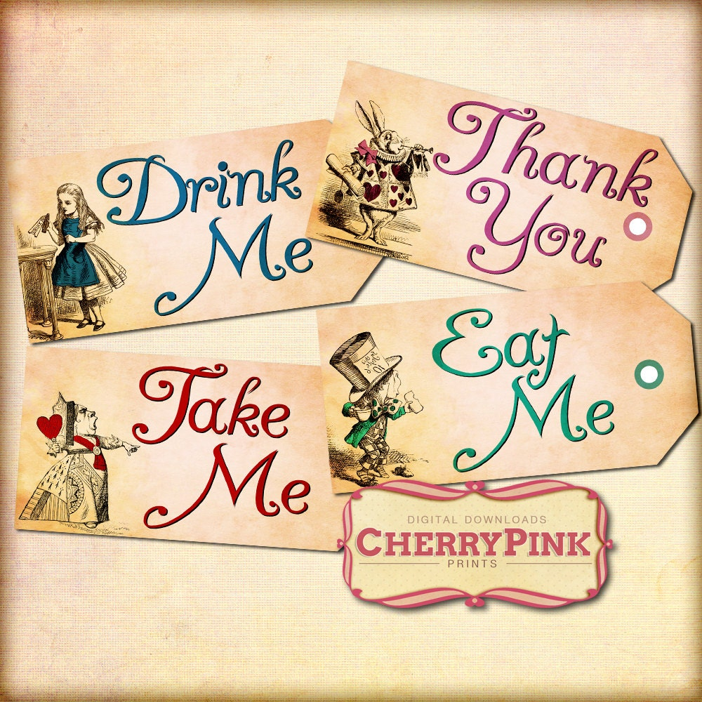 Alice in wonderland printable tags eat me drink me tags zoom arubaitofo Choice Image