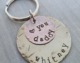 Personalized Dad Keychain - Love You Daddy- Father Dad Key Holder- Hand-stamped Personalized Fathers Day Gift - New Daddy Gift - K27