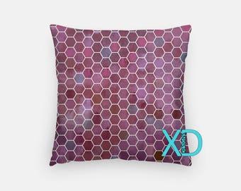 Honeycomb Pillow, Purple Pillow Cover, Geometric Pillow Case, Artistic Design, Abstract Design, Home Decor, Decorative Pillow Case, Sham
