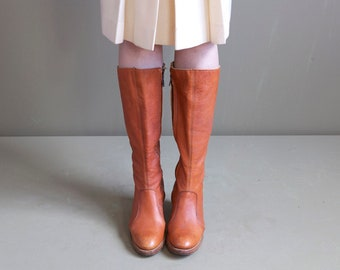 Leather knee boots/ cognac leather boots / high boots / 70s leather boots