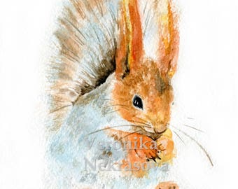 Woodland Animals Print Set Of 3 Watercolor Animal Prints Bunny Rabbit Hedgehog Squirrel Print Nursery Decor Wall Art Wall Decor Art Print