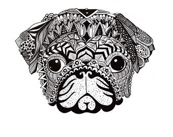 zentangle black and white puppy, dog, pug downloadable art,abstract
