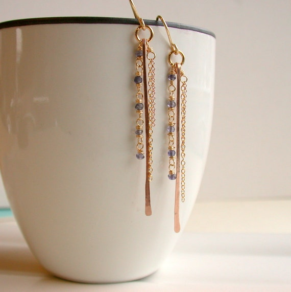 Fringe and Bar Earrings with Iolite