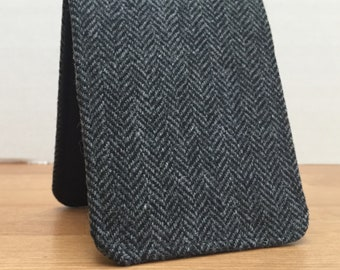 OhSoRetro Mens Wallet / Super Thin Billfold Wallet / Black Herringbone Wool / Non-Leather Wallet